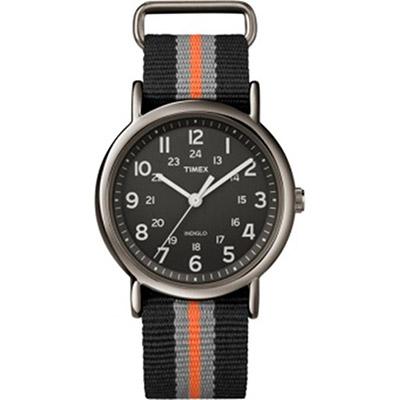 Timex Weekender Quartz Round Black Dial Orange Grey & Black Strap